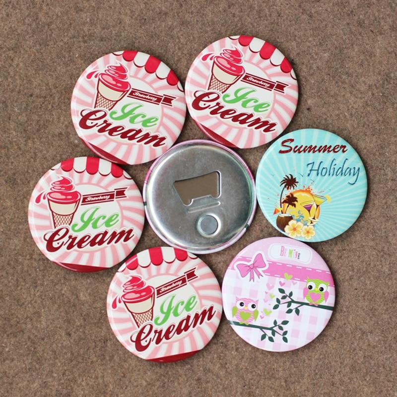Custom Metal Tin Plate Fridge Magnet Beer Bottle Opener Tinplate Button Mirror Pocket Makeup Mirror Badge