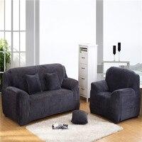 NJ Châu Âu phổ sofa bìa Dày Ấm Polyester sang trọng Vải màu xám Đàn Hồi Sofa Bìa đệm Che couch nhà dệt
