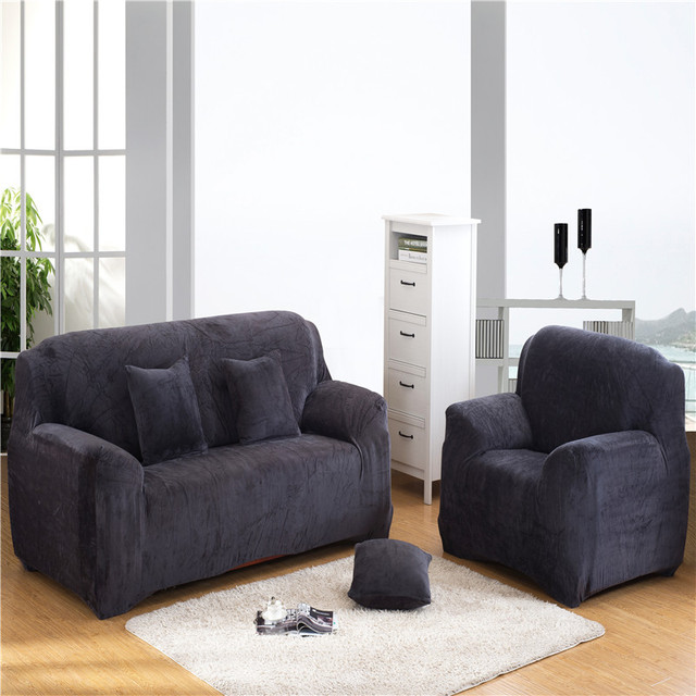 Nj Europe Universal Sofa Cover Thicken Warm Plush Polyester Gray Fabric Elastic Cushion