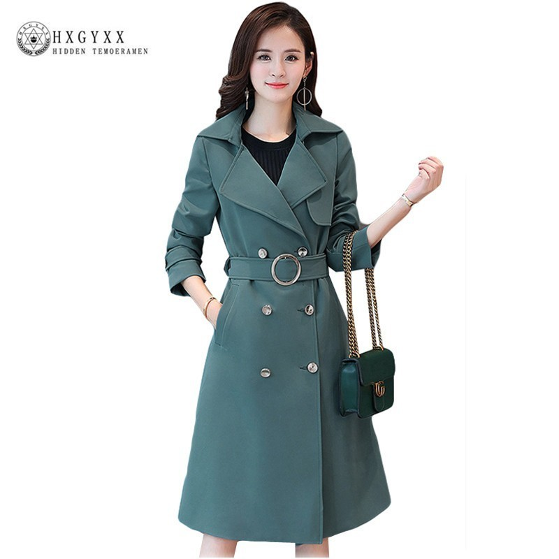 Slim Office Trench Coat Female Overcoat Women Double Breasted