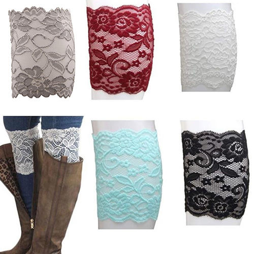 Women Stretch Lace Hem Boot Cuffs Flower Leg Warmer Lace Trim Toppers Socks