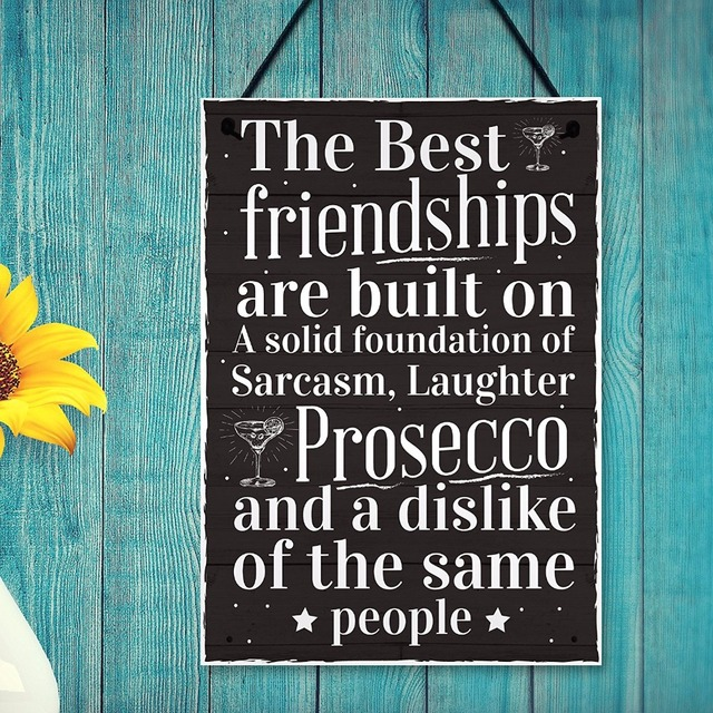 Meijiafei Friendship Sign Best Friend Prosecco Plaque Gifts For Women Gift Her Birthday Alcohol Presents