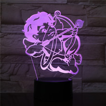 3D LED Lamp Cupid bow and arrow bedside 7 Color Changing RGB Boy Child Kids Baby Birthday Gift USB 3D LED Night Light Decoration india taj mahal usb 3d led night light veilleuse lamp decoration rgb kids baby gift famous buildings table lamp bedside neon