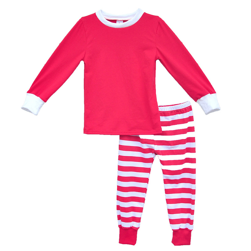 2016 Winter Children Clothing Set Girls Outfits Red Stripe Kids Christmas Pajamas Soft Cotton Baby Sleepwear Clothes C020