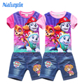 2017 Summer Children Cartoon T shirts Clothes sets Girls Pullover clothing set fashion short sleeve T-shirt + shorts Clothes
