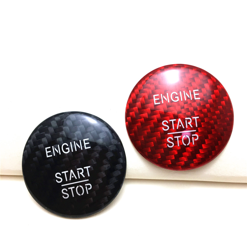 carbon fiber engine start stop push button cover trim for. Black Bedroom Furniture Sets. Home Design Ideas