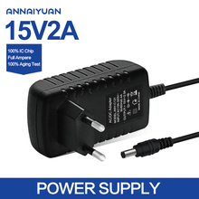 Annaiyuan 1PCS high quality 15V2A AC 100V-240V Converter Adapter DC 15V 2A 2000mA Power Supply EU Plug 5.5mm x 2.1 Free shipping