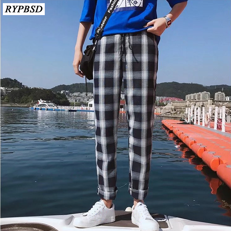 Plaid Pants Men 2019 New Fashion Drawstring Streetwear Men's Trousers Korean Straight Loose Hip Hop Men's Plaid Pants M-XXL