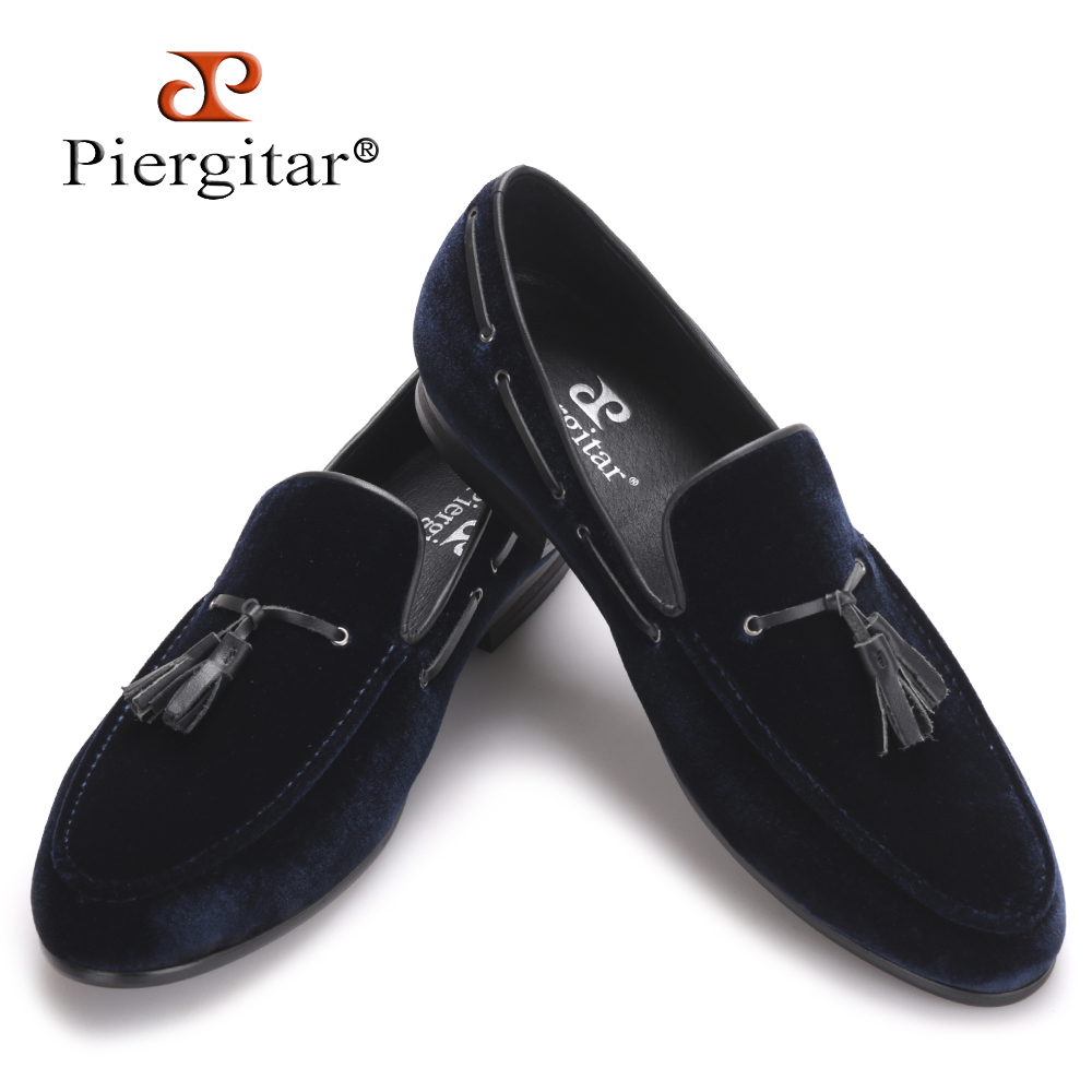 Navy Blue Leather Tassel Handmade Men Shoes Men's Party and Wedding Shoes Men Velvet Loafers Banquet Men's Flats Size US 4-17 пальто женское baon цвет черный b037548 black размер xl 50