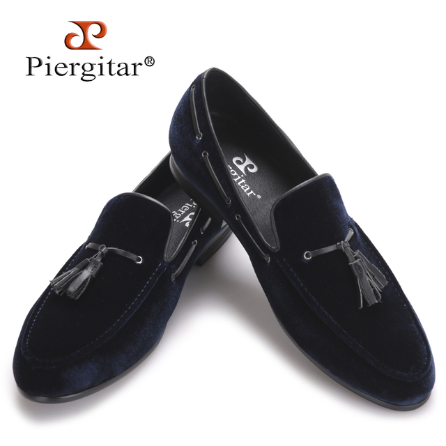 Navy Blue Leather Tassel Handmade Men Shoes Men\'s Party and ...