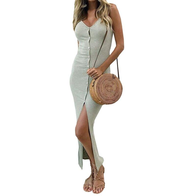 Button Sexy Casual Summer Dress Long Boho Beach Women Sundress Vestidos Elegant Daily Dess Female