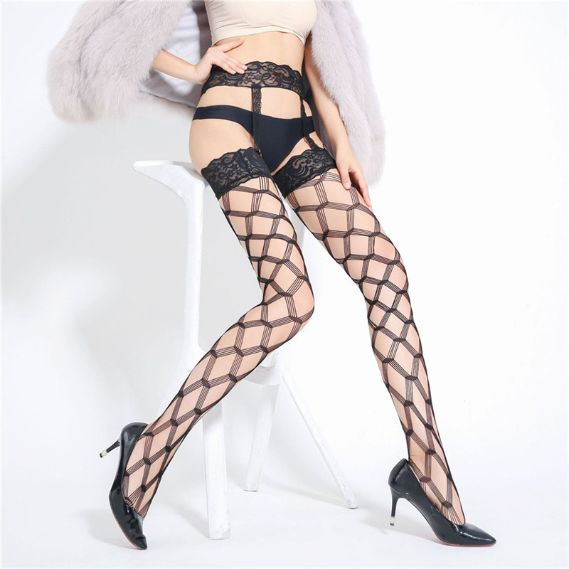 Women Thigh High Stockings Sexy Erotic Hosiery Black Lace Stay Up Stockings Plus Size Hot Erotic Fishnet Tights Stockings Nylon