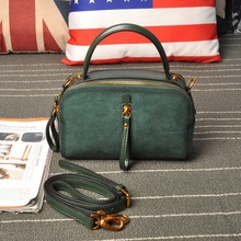 Women Fashion Genuine Leather Nubuck Double Zipper Pillow Small Messenger Shoulder Bags Handbag Purse Hand Bag Vintage 2017