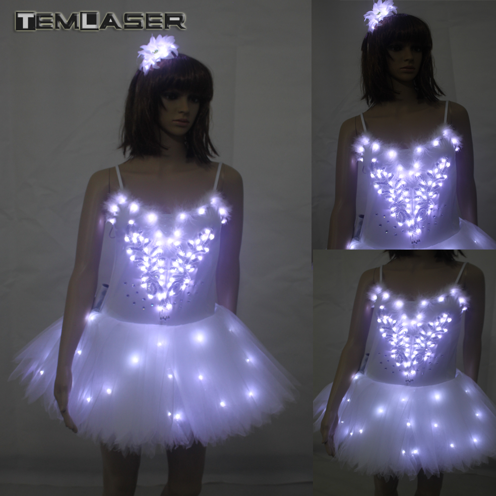 Klasična Adult Camisole Remen Koža Balet LED suknja Tutu White Swan Lake LED svijetao kostim Light Up Luminous Clothes  t