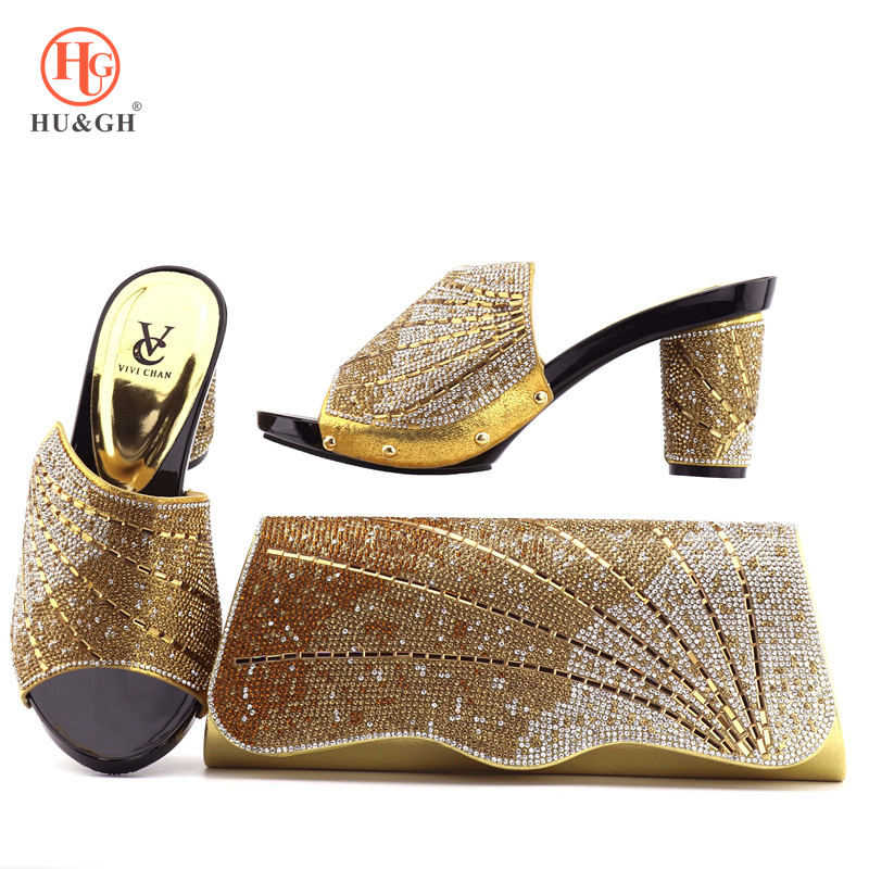 цены New Italian design party shoes and bag set with nice stones African pumps with handbag italian Gold shoe and matching bags women