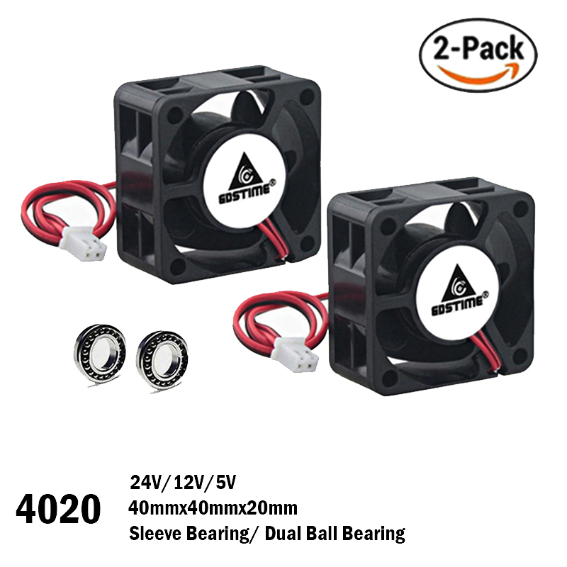 2PCS Gdstime 40mm 24V 12V 5V 4020 Mini Computer Case Cooling Fan Ball Bearing Sleeve Bearing 2Pin 4cm 40x40x20mm