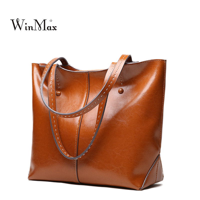 Women Genuine Leather Handbags Vintage Shoulder Bag High Quality Cow Leather Tote Bag Female Handbag Sac a Main Ladies Hand Bags new women genuine leather handbags shoulder bag oil wax cow leather tote bags female vintage handbags sac a main ladies hand bag