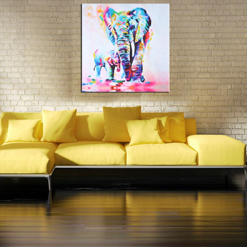 60cm Watercolor Elephant Oil Colorful Modern Abstract Art Painting ...