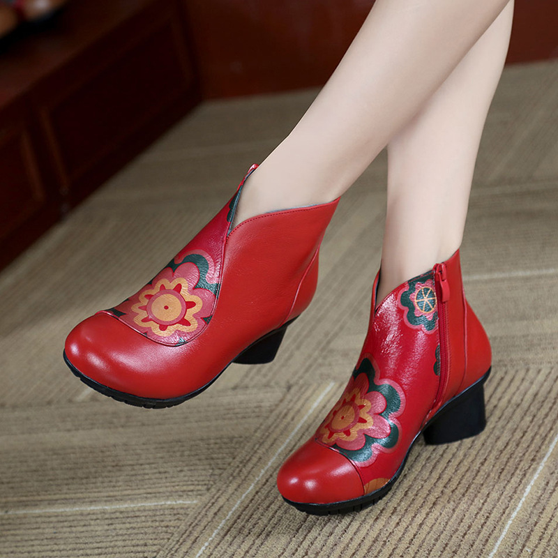ФОТО Ethnic style boots leather women boots elderly mother rough with ankle boots spring and autumn ladies boots with heels