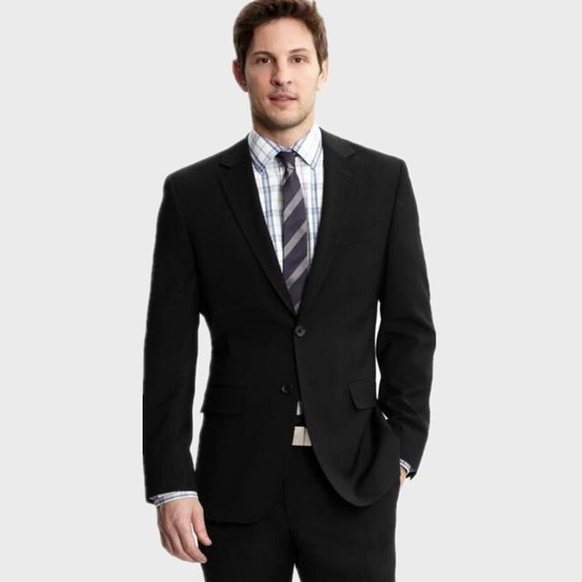 De alta calidad negro lana mezclada esmoquin novio trajes moda hombres  trajes a medida del padrino d10ab8f1458