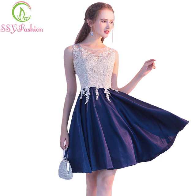 7c6226bcae8 SSYFashion New Short Cocktail Dress The Bride Banquet Navy Blue Satin with White  Lace Sleeveless Knee-length Formal Party Gown