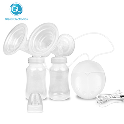 GL USB Double Electric Breast Pump Electric Pump for Baby Feeding Strong Suction Infant Milk Breast Enlargement Pumps Two Bottle