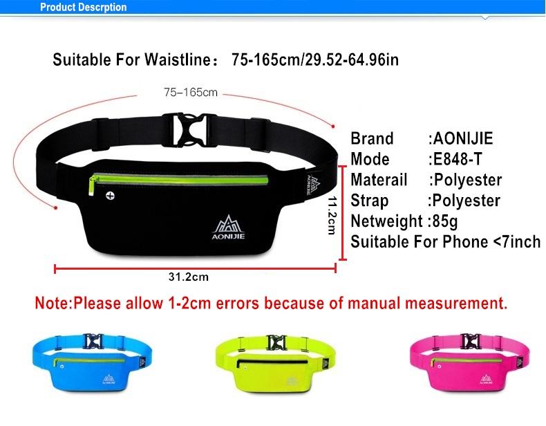 AONIJIE Runnning Waist Bag Men Women Sport Waist Pack Jogging Gym Fitness Running Belt Bag Phone Holder Sport Accessories 10