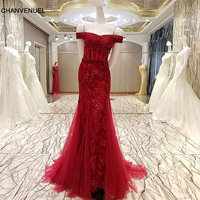 LS58789 Red evening gown corset back off the shoulder beaded mermaid long evening dress on sale abendkleider lang real photos