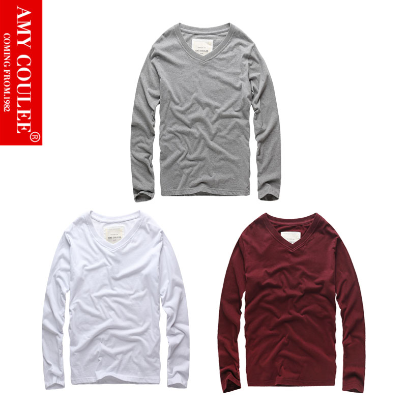 100%Cotton Gray White Wine 3 in 1 Set V-neck Full Sleeve T-shirt Solid Color Classic High Quality Breathable Men Women Style