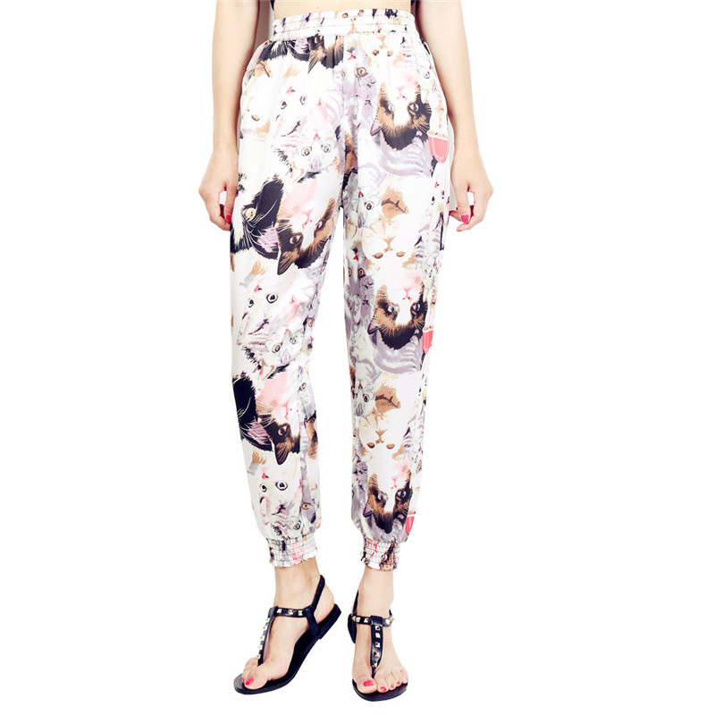 Loose Harem Pant High Waist Show Thin Printed Women's Wear Casual Ankle-Length Trousers Pockets 21