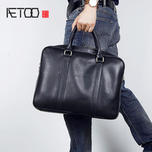 купить AETOO Men's leather briefcase stylish simple cowhide handbag Korean version of computer bag oblique cross-shoulder по цене 7530.81 рублей