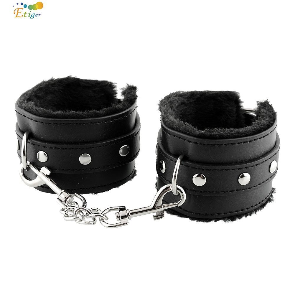 Black Soft PU Leather Handcuffs Restraints Bondage Sex Products Sex Toys Tools