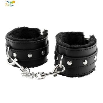 Black Soft PU Leather Handcuffs Restraints Bondage Sex Products Sex Toys Costume Tools