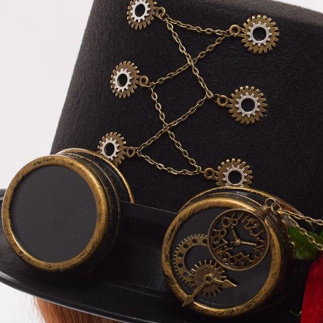 Шляпа в стиле стимпанк с очками и розой 4