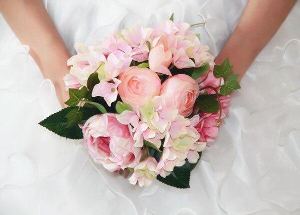 FW65 Пионы букет, Розовые Розы Свадебный Букет Красивая Ручной Невеста Букет Свадебные Цветы, 5 Пион + 4 гортензия