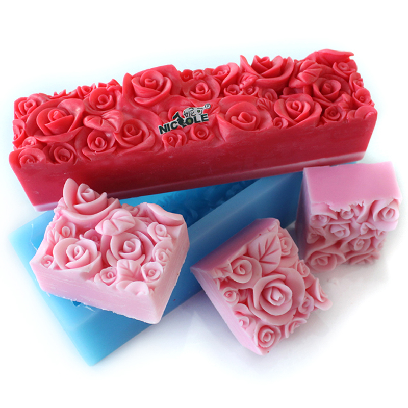 Rose Flower Silicone Soap Mold Embossed Loaf Mould DIY Handmade Cake Toast Decoration Tool
