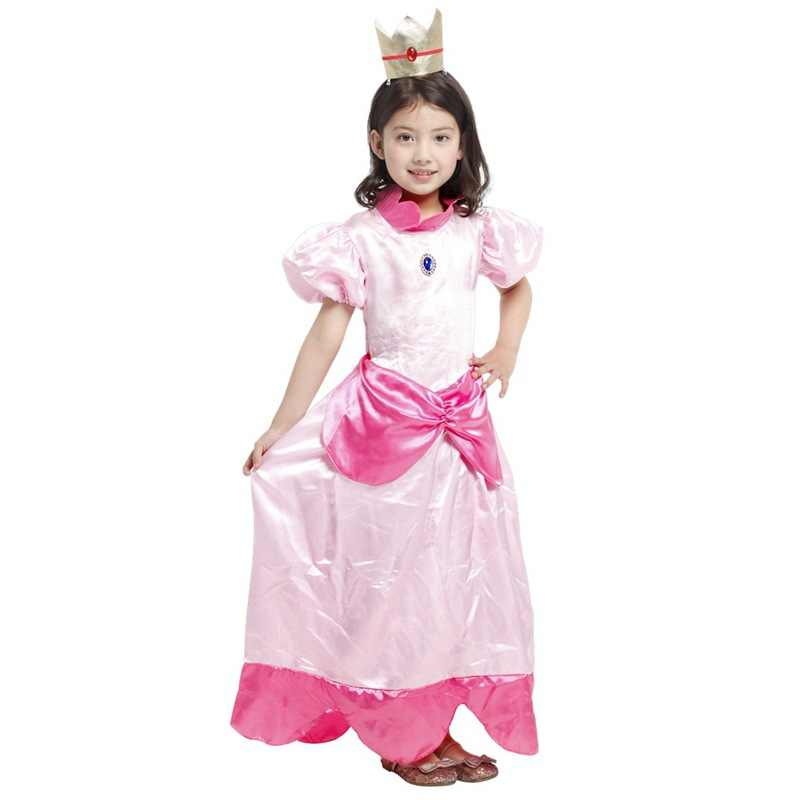 Little Princess Peach Costume Super Mario Brothers Princess Cosplay Classic Game Mario Costume Kids Girl Halloween Fancy Dresss
