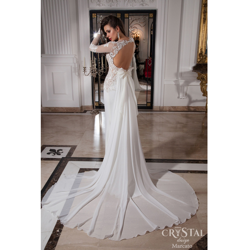 Unique Mermaid Wedding With Full Sleeve Scoop Neckline Beaded Liques Backless Detachable Train In From