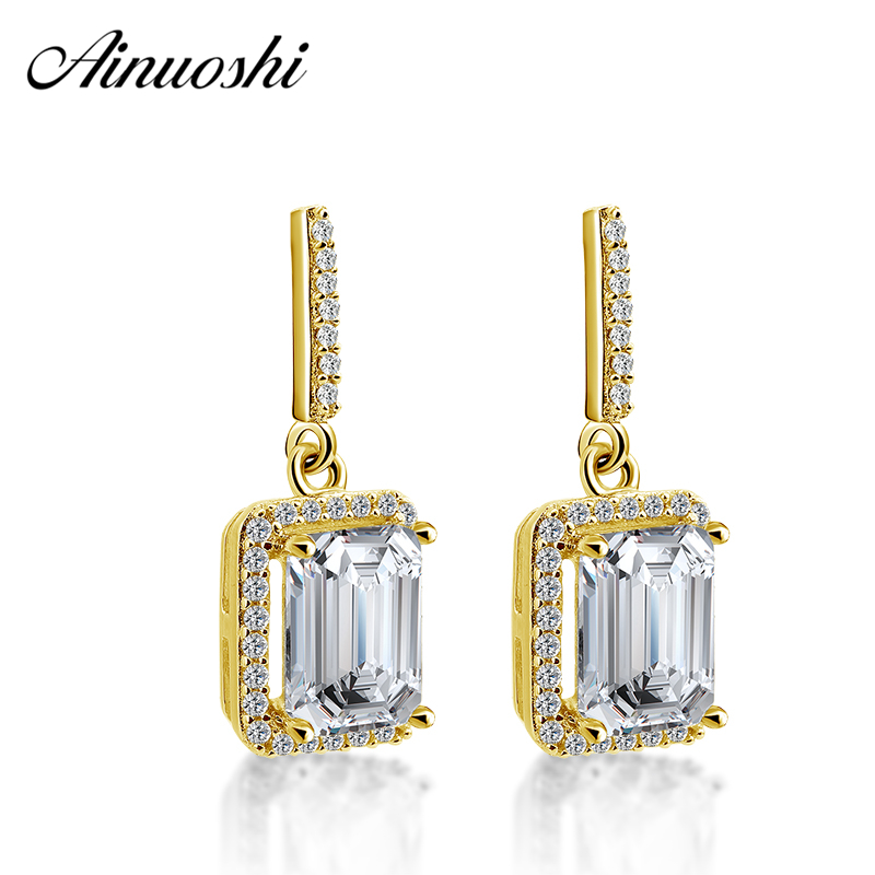 AINUOSHI 10K Yellow Gold Rectangle Drop Earrings 3ct Emerald Cut Gold Click Back Earrings Fine Pierced Earring Jewelry for Women pair of charming rectangle drop earrings for women