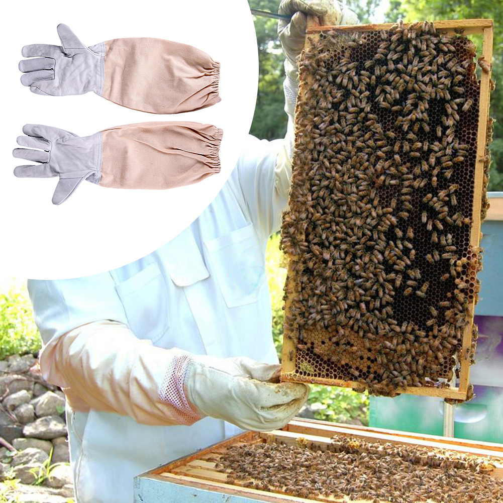 1 Paire de Gants avec Manches De Protection ventilé Professionnel Anti Abeille pour L'apiculture Apiculteur
