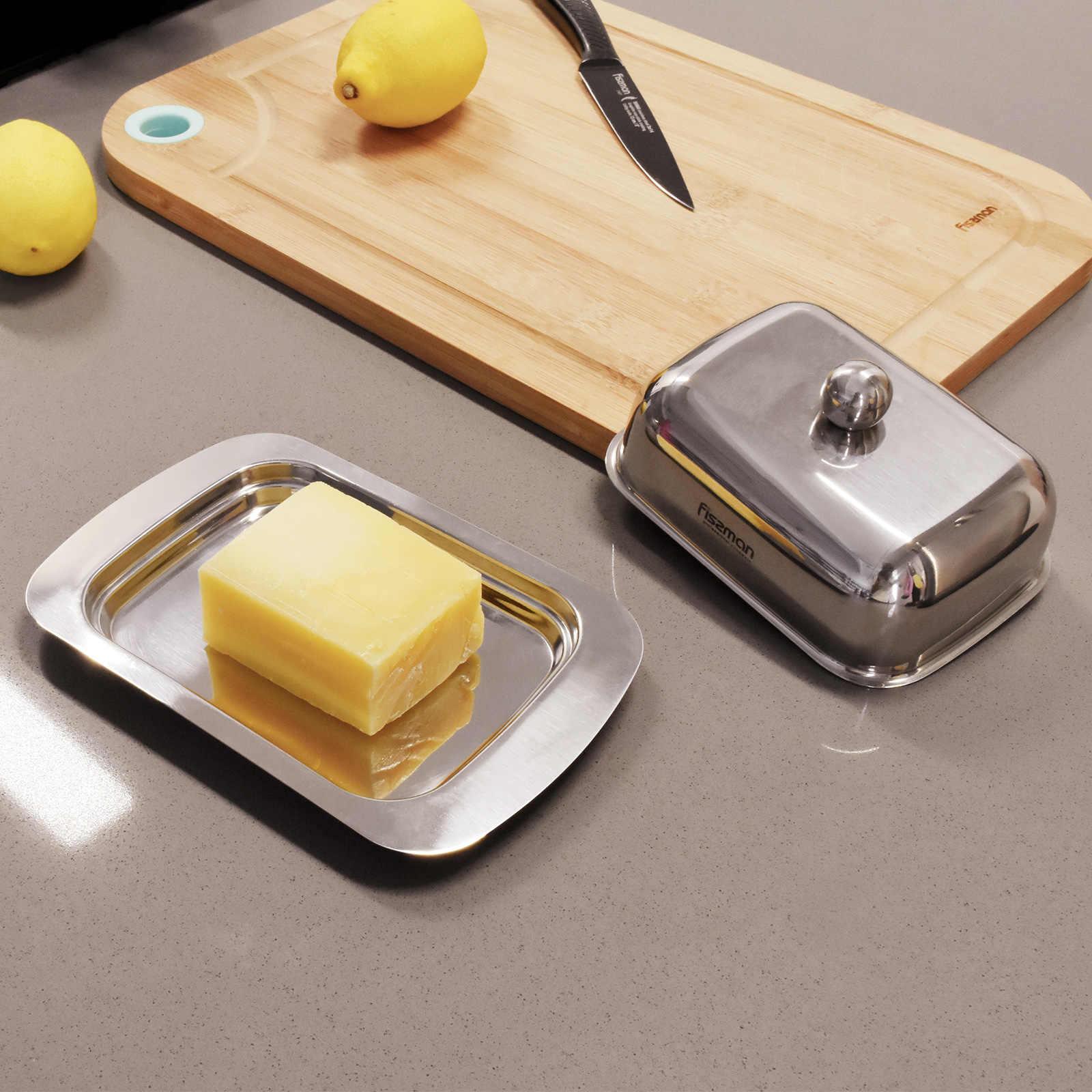 Fissman из нержавеющей стали для масла коробка для посуды контейнер для хранения сыра Сервер лоток для хранения с крышкой кухонная посуда