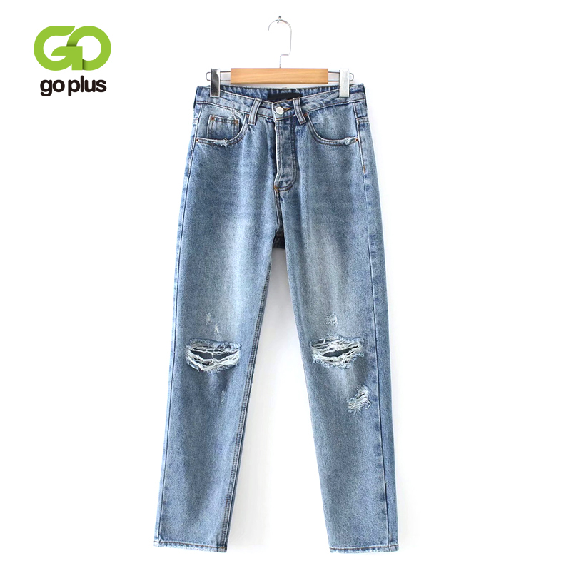 GOPLUS 2019 Vintage High Waist Women's Straight Jeans Boyfriend Loose Ripped Jeans For Women Full Length Denim Pants Femme C6939