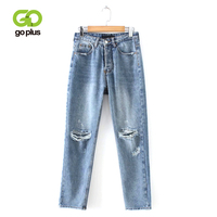 GOPLUS 2019 Vintage High Waist Women's Straight Jeans Boyfriend Loose Ripped Jeans For Women Full Length Denim Pants Femme C6939