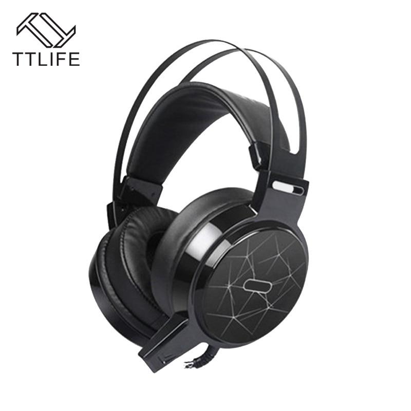 ФОТО TTLIFE C13 Game Headphone Computer Big Headset Bass Headphones RGB Colorful Breath Light Technology Game Audio Headsets