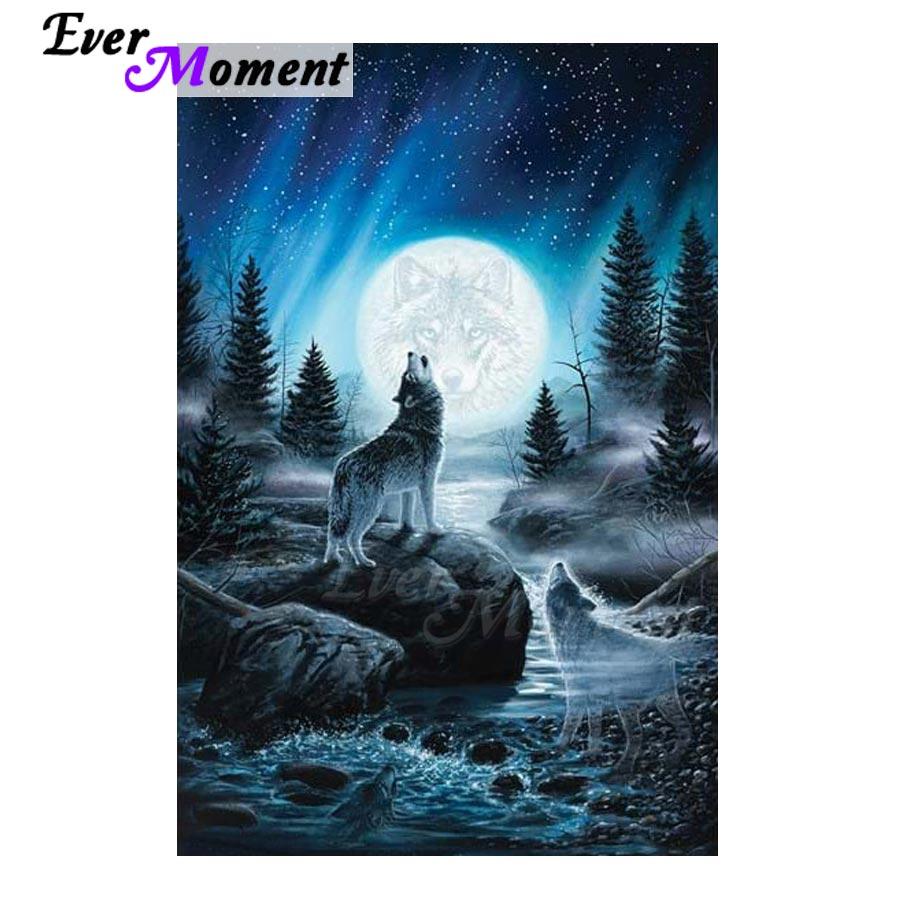 DIY 5D Diamond Embroidery Night Wolf Painting Rhinestone Cross Stitch Home Decor