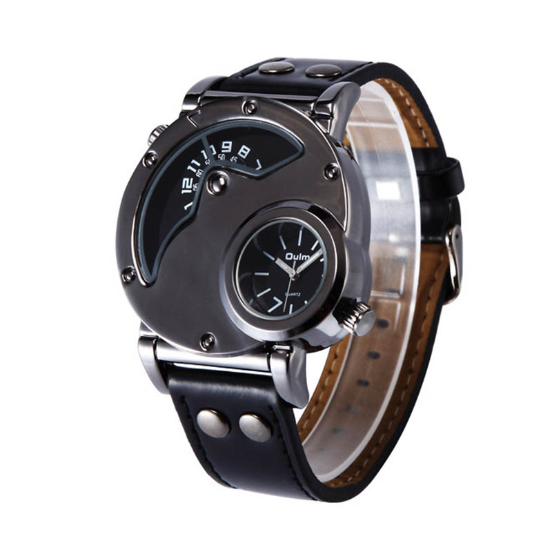 Oulm 9591 Luxury Men's Military Sport quartz Wrist Watch Leather Band Dual Movt Round Shaped oulm 3597 male quartz watch dual movt multifunctional wristwatch