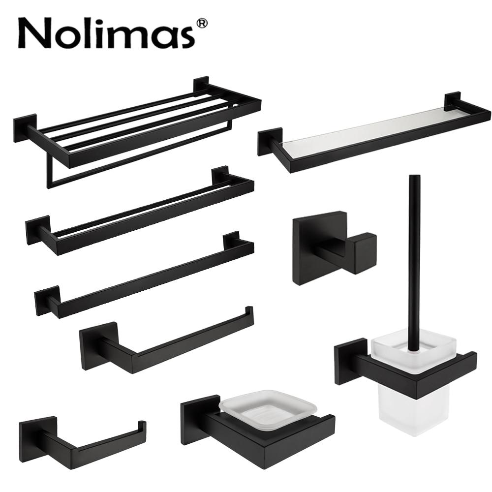 SUS 304 Stainless Steel Bathroom Hardware Set Black Matte Paper Holder Toothbrush Holder ...