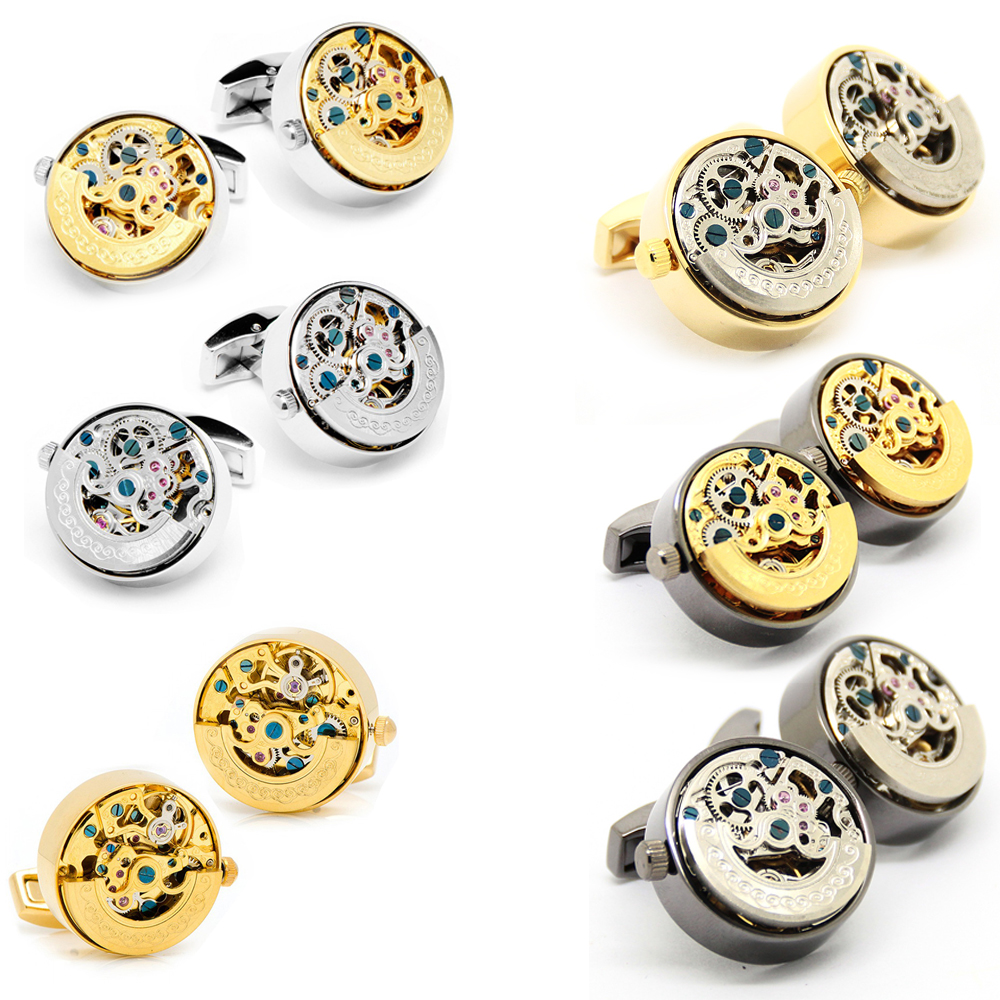 Beour Silver And Gold Cufflinks For Mens High Quality Steampunk Stainless Steel Shirt Cufflink Wedding Gifts exquisite number patterns stainless steel cufflinks for men black silver pair