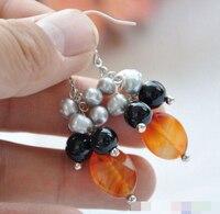 free shippinbg 00149 black red agate bead gray rice pearl dangle earring