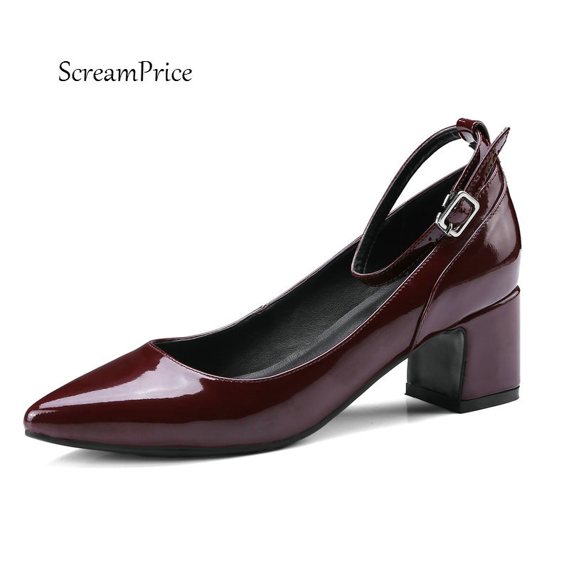 Women Genuine Leather Buckle Strap Comfortable Square Heel Pumps Fashion Pointed Toe Party Shoes Black Wine Red summer women high heel shoes women pumps genuine leather pointed toe buckle crystal women square heel fashion party shoes